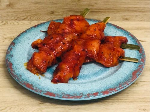 BBQ chicken breast skewers